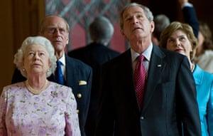 George W Bush: 15 June 2008: Queen Elizabeth II with President Bush at Windsor