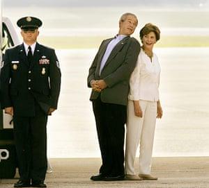 George W Bush: 30 June 2006: President Bush teases first lady Laura Bush