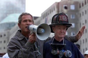George W Bush: 14 September 2001: George W Bush at the site of the World Trade Centre