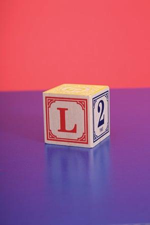 Alphabets book: L on an alphabet block.
