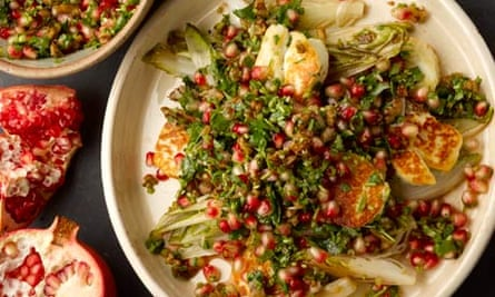 Halloumi and chicory with pomegranate