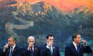 David Cameron drinks a toast with George Osborne, Vince Cable and Michael Gove