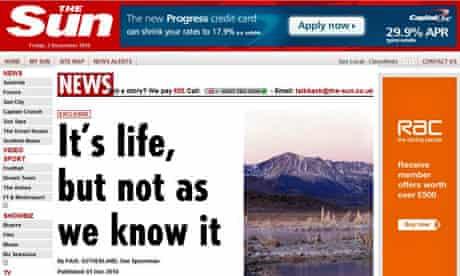 Sun headline, arsenic bacteria story