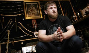 Ramzan Kadyrov shown in 2005 with his extensive collection of weapons