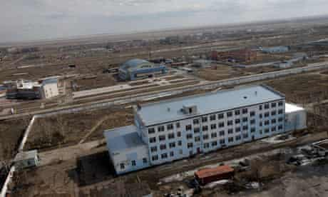 An aerial view of a nuclear reactor facility in the city Kurchatov, Kazakhstan.