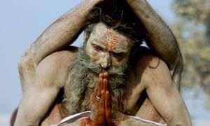 Indian Sadhu Yogiraj Srikant, performs yoga