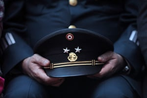 24 hours in pictures: General Alfonso Duarte Mujica, holds his cap during a swearing-in ceremony