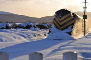 The Esk Valley line between Middlesbrough and Whitby yesterday in snow