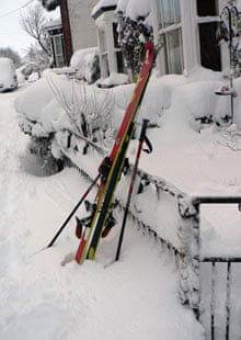 Skis before they were put to use for the commute to work in Caistor, Lincolnshire.