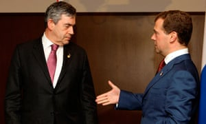 Gordon Brown's first meeting with Dmitry Medvedev