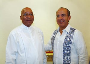 Cacun COP16 update: Mexican President Felipe Calderon and South African President Jacob Zuma,