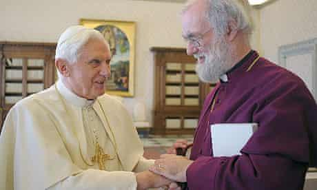 Pope Benedict XVI and archbishop of Canterbury Rowan Williams meeting at the Vatican