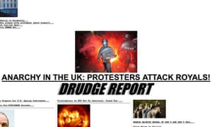 Drudge Report page on attack on Charles and Camilla