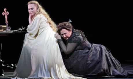 Marina Poplavskaya and Anna Smirnova in final dress rehearsal for Verdi's Don Carlos