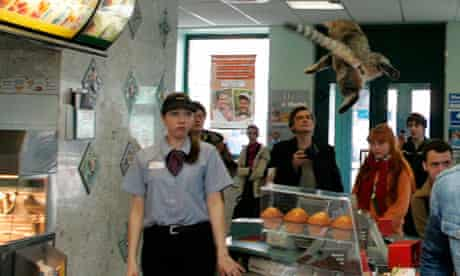 Voina McDonad's cat stunt