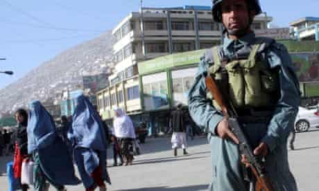 An Afghan policeman in Kabul