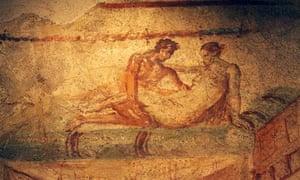 Erotic frescoe in Pompeii s Lupanare site