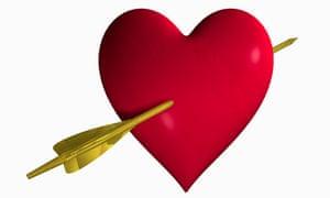 Heart pierced by Cupid's arrow