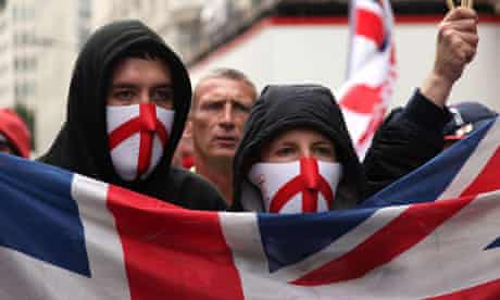 Members of the English Defence League at a march in London, July 2010