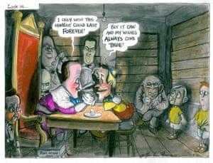 Martin Rowson: George Osborne as Flashmanite bully