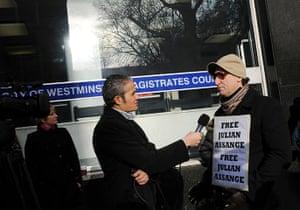 Julian Assange Trial: A television journalist interviews a pro