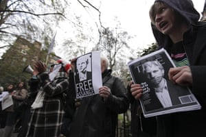 Julian Assange Trial: People take part in a protest