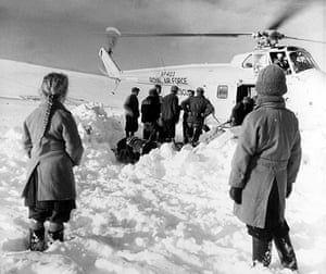 1962 Winter Freeze: Stranded families, cut off by deep snow in the Lammermuir Hills, Scotland