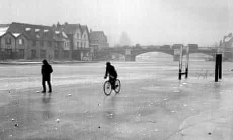 Cycling on the frozen River Thames at Windsor
