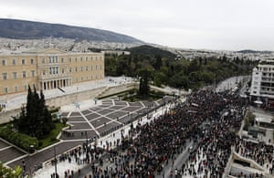 Riots in Athens: Protesters take part in a rally outside the Greek Parliament