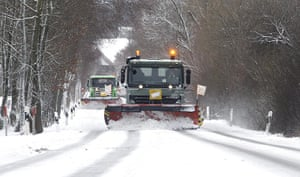 Winter Weather Europe: Snowploughs clear a road outside Uster, Switzerland