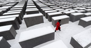 Winter Weather Europe: Snow covers the Holocaust memorial in Berlin, Germany