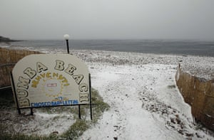 Winter Weather Europe: A beach covered in snow is seen in Civitavecchia, north of Rome