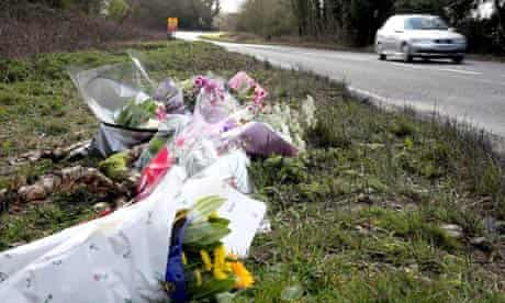Floral tributes at the scene of a car crash