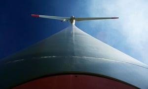A power-generating wind turbine is seen in a wind farm of Alpiq in Le Peuchapatte in the Jura region