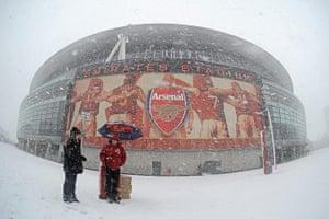Snow: Soccer - Barclays Premier League - Arsenal v Stoke City - Emirates Stadium