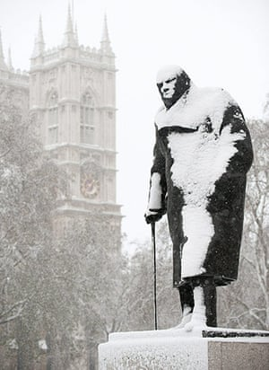 Snow: The statue of former British Prime Minis
