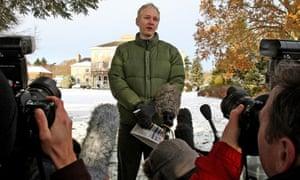 Julian Assange speaks to journalists outside Ellingham Hall