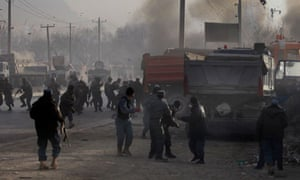 Afghan soldiers run for cover