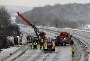 Cold weather continues: The M25 near Brasted, after a tanker carrying liquid petroleum gas crashed