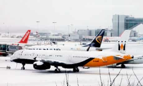 Snow-bound aircraft at Gatwick