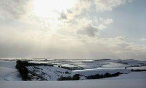 Snow blankets fields near Goole.