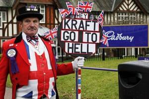 Year in Business: Ray Egan as John Bull outside Cadbury in Bournville Birmingham