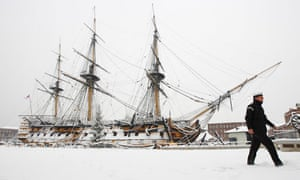Snow at Portsmouth historic dockyard