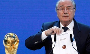 Sepp Blatter announces Russia as the host nation for the FIFA World Cup 2018