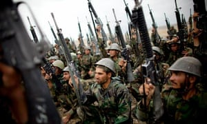 Afghan national army recruits on a training exercise