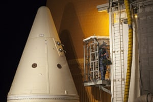 space monthly: shuttle Discovery as it sits on Launch Pad 39A