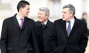 David Miliband, Alan Johnson and Gordon Brown in London on 3 March 2010