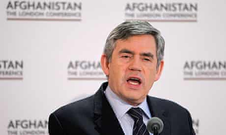 Gordon Brown at the opening session of the Afghanistan conference at Lancaster House