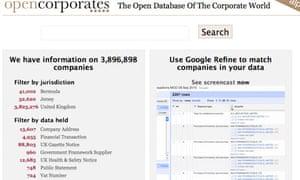 Open corporates screen shot