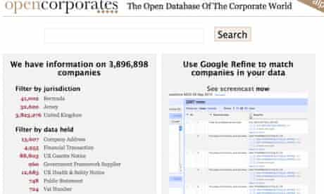 Open corporates screen shot